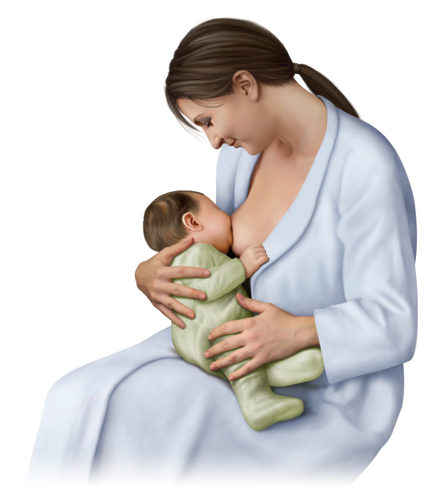 A mother breastfeeding her child.